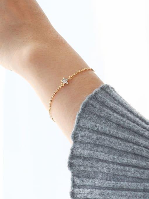 CHARME Brass Cubic Zirconia Star Minimalist Link Bracelet 1