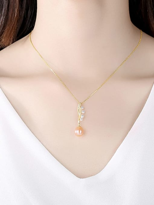 CCUI 925 Sterling Silver Freshwater Pearl Water Drop Minimalist Necklace 1