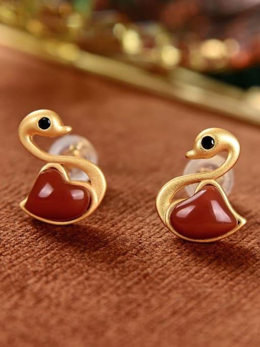 DEER 925 Sterling Silver Carnelian Swan Cute Stud Earring 2