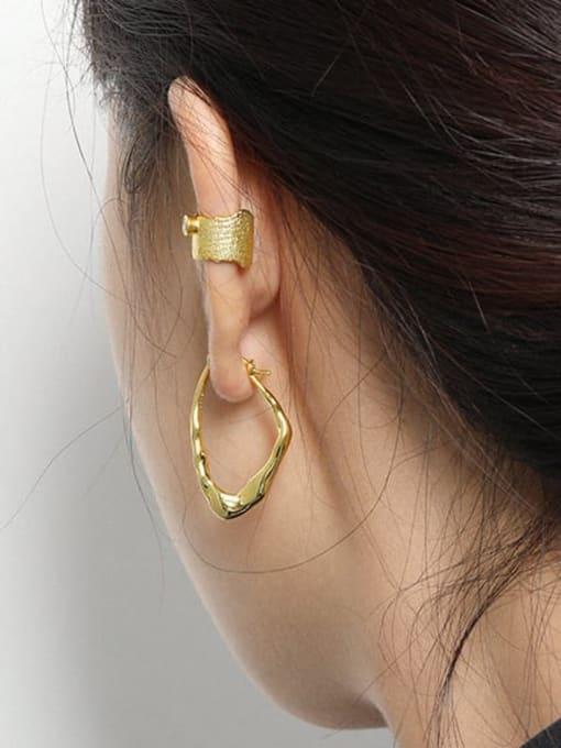 DAKA 925 Sterling Silver Geometric Minimalist Huggie Earring 2
