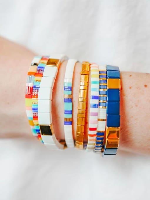 Roxi Stainless steel Tila Bead Geometric Bohemia Handmade Weave Bracelet 3