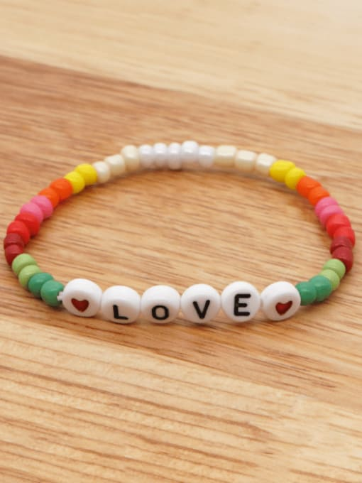 QT B200168A Stainless steel MGB  Bead Multi Color Letter Bohemia Stretch Bracelet