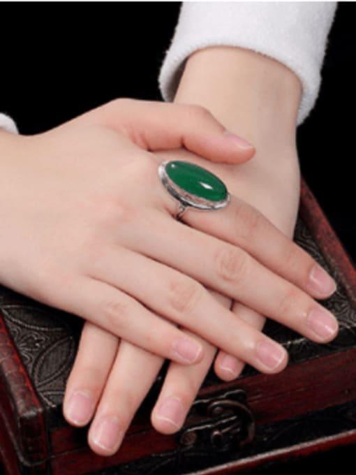 DEER 925 Sterling Silver Jade Oval Luxury Band Ring 2