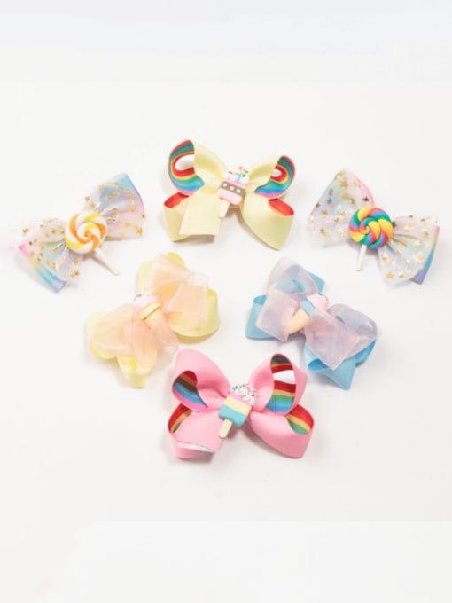 Jare Alloy  Fabric Cute Bowknot Multi Color Hair Barrette 1