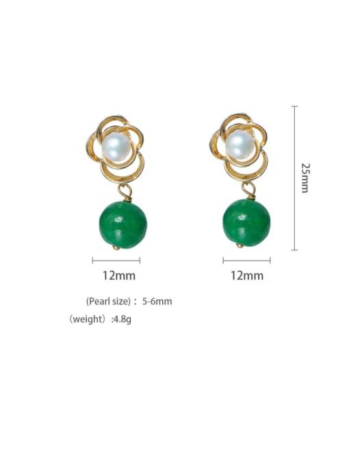 RAIN Brass Imitation Pearl Flower Cute Drop Earring 2