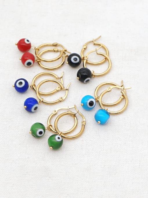 Roxi Stainless steel  MGB Bead Multi Color Evil Eye Bohemia Huggie Earring 0