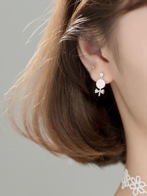 Rosh 925 Sterling Silver Enamel Lollipop bow Trend Stud Earring 2