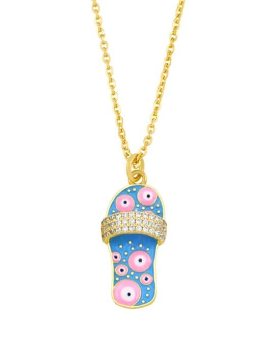 C (blue) Brass Cubic Zirconia Enamel Irregular Vintage Necklace