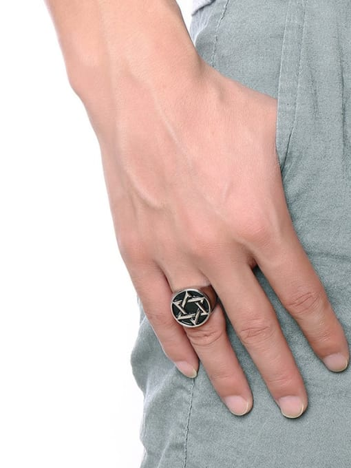 CONG Titanium Steel  Vintage Five-pointed star  Band Ring 2