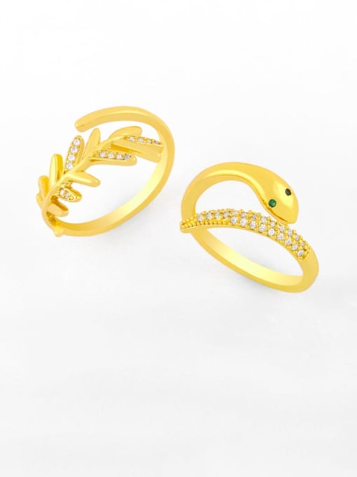 CC Brass Cubic Zirconia Snake Vintage Band Ring