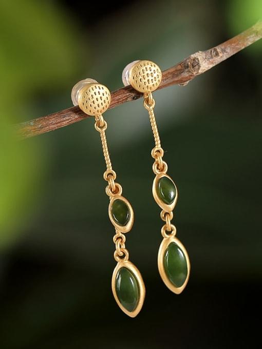 Jasper 925 Sterling Silver Jade Geometric Ethnic Drop Earring