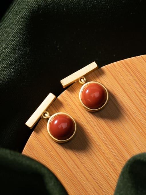 DEER 925 Sterling Silver Carnelian Geometric Minimalist Stud Earring 3
