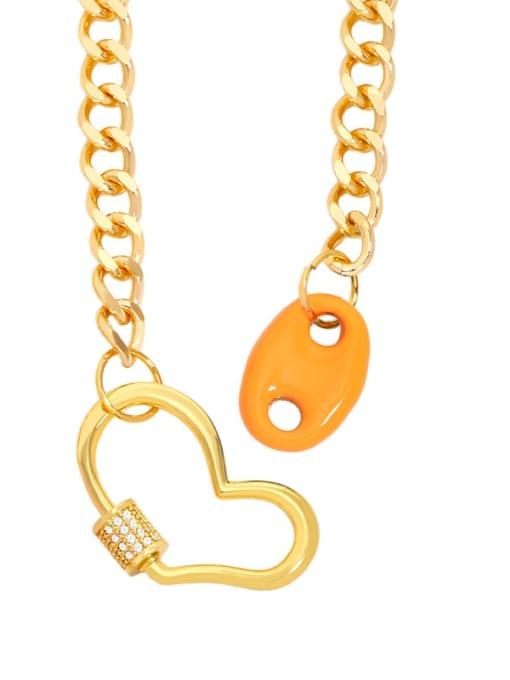 orange Brass Enamel Heart Hip Hop Hollow Chain Necklace