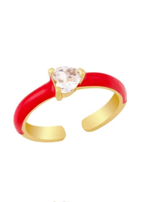 red Brass Enamel Cubic Zirconia Heart Minimalist Band Ring