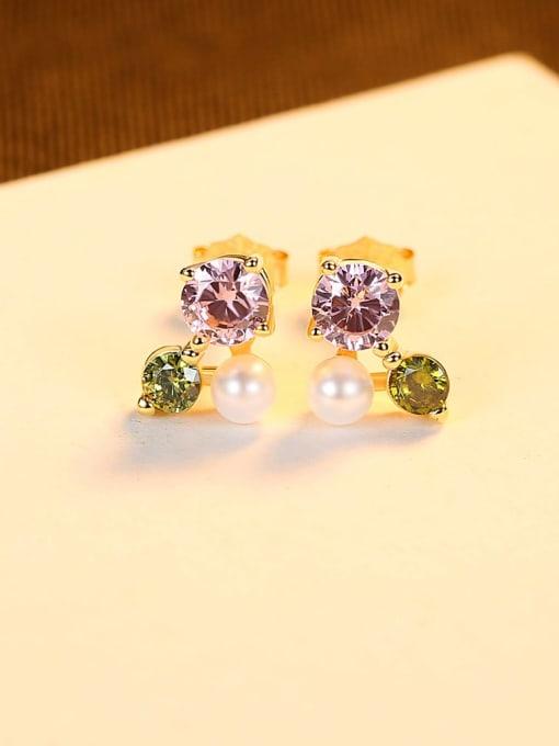 18K gold 925 Sterling Silver Cubic Zirconia Flower Cute Stud Earring