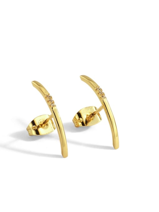 Gold curved Earrings Brass Rhinestone Geometric Minimalist Stud Earring