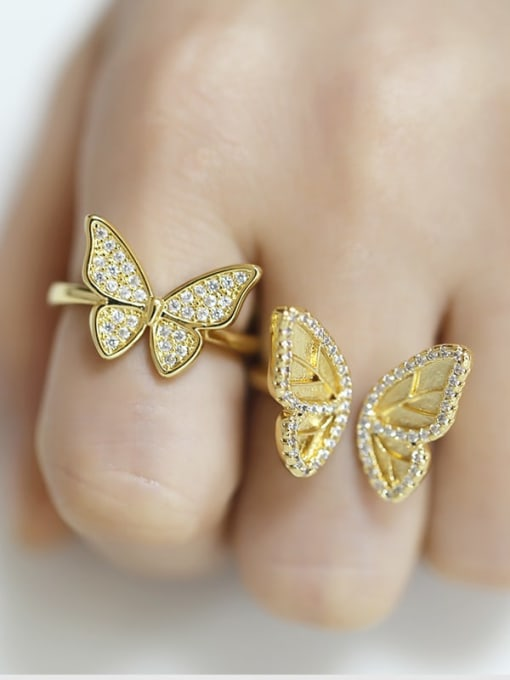 CC Brass Cubic Zirconia Butterfly Vintage Band Ring 1