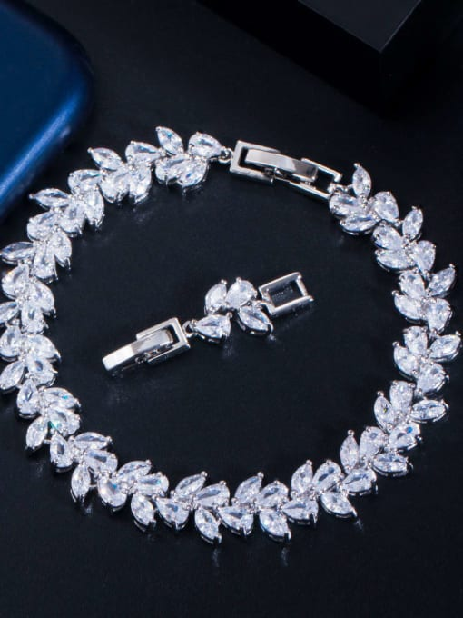 platinum Brass Cubic Zirconia Leaf Luxury Bracelet