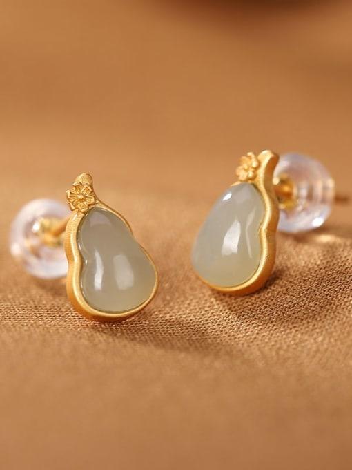 DEER 925 Sterling Silver Jade Geometric Vintage Stud Earring 2