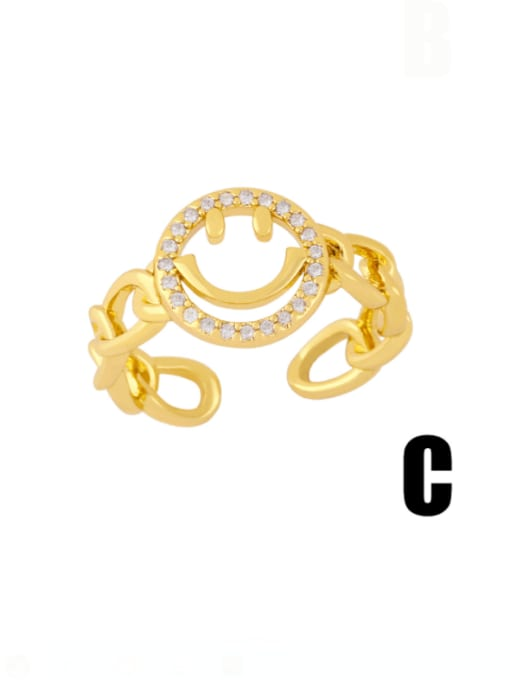 CC Brass Cubic Zirconia Smiley Vintage Band Ring 3