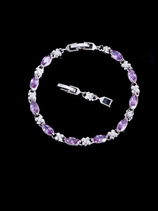 violet Brass Cubic Zirconia Geometric Luxury Bracelet