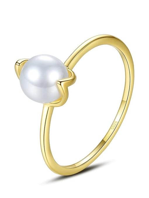 CCUI 925 Sterling Silver Imitation Pearl Irregular Minimalist Band Ring 3