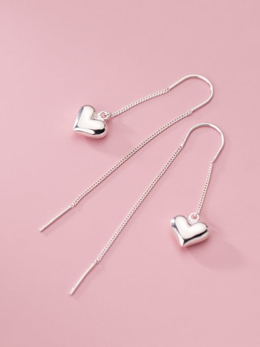 Rosh 925 Sterling Silver Heart Minimalist Threader Earring 3