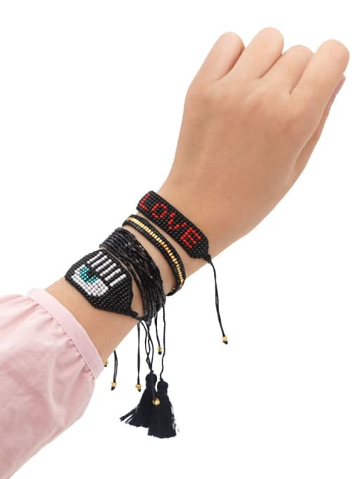 Roxi Multi Color Miyuki DB Bead Letter Bohemia Adjustable Bracelet 0