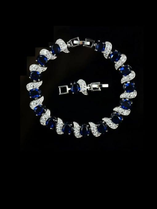 Royal Blue Brass Cubic Zirconia Geometric Luxury Bracelet