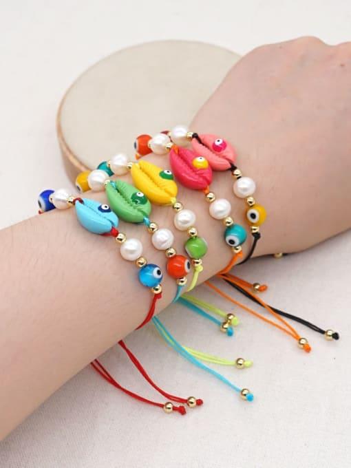 Roxi Stainless steel Freshwater Pearl Multi Color Irregular Bohemia Adjustable Bracelet