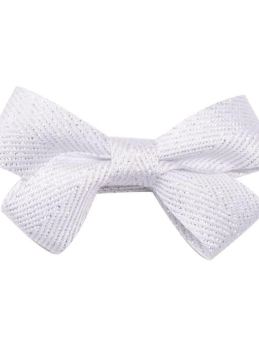 13 white woven silver wire Alloy Fabric Cute Bowknot  Multi Color Hair Barrette