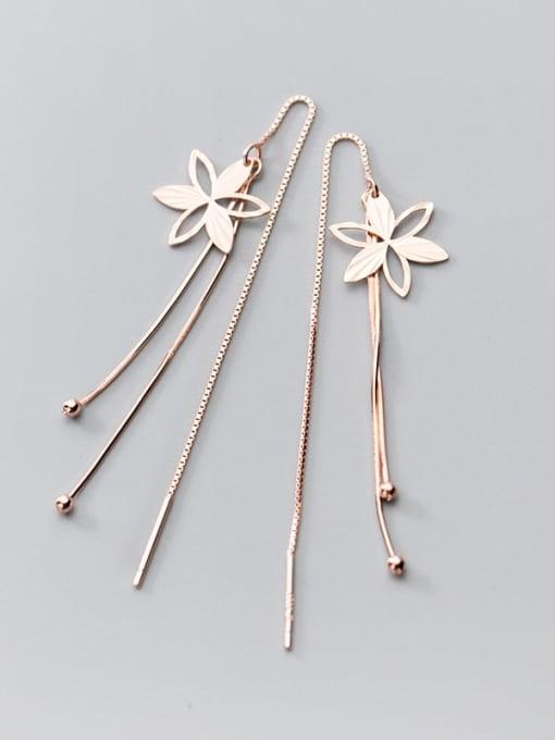 Rosh 925 Sterling Silver Flower Minimalist Threader Earring