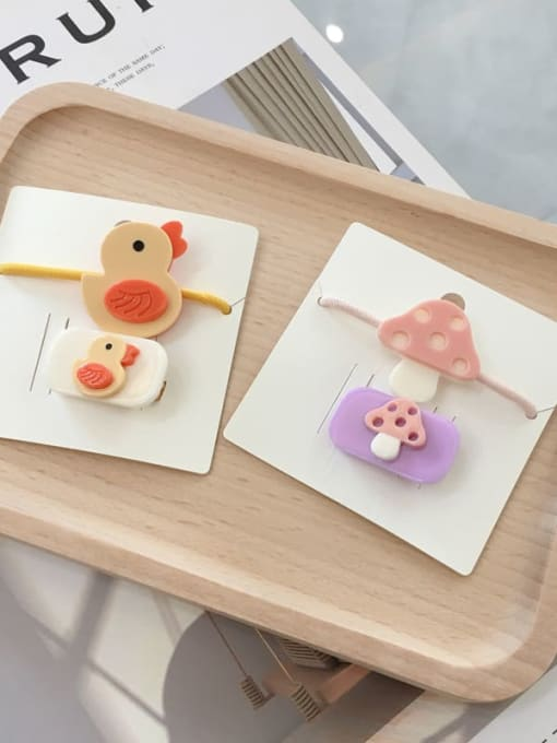 Chimera Alloy Acrylic Cute Children cartoon animal fruit Hairpin Rubber band Set 1