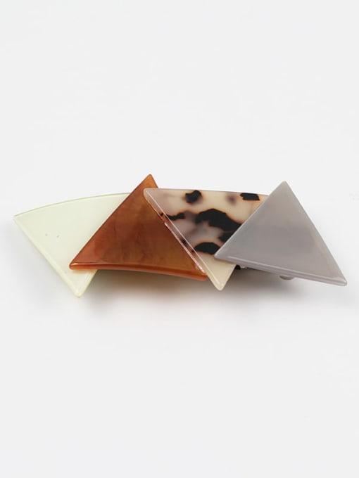 Brown splicing Cellulose Acetate Minimalist Geometric Zinc Alloy Spring clip Hair Barrette