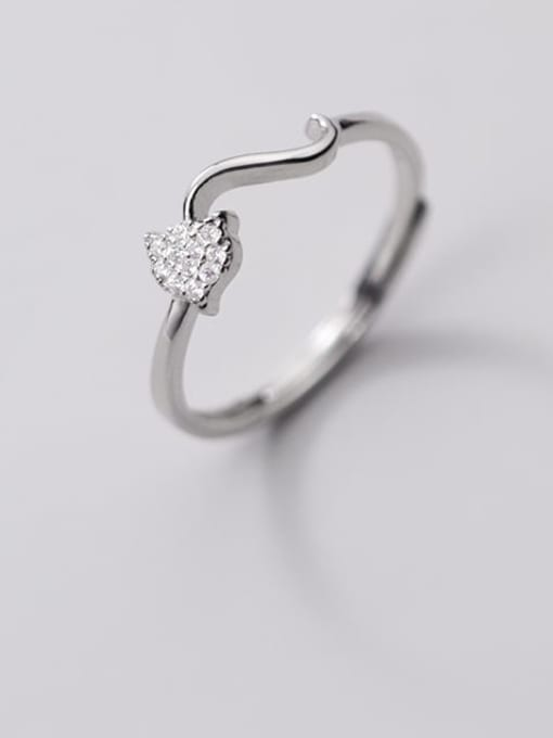 Rosh 925 Sterling Silver Rhinestone Heart Minimalist Band Ring 1