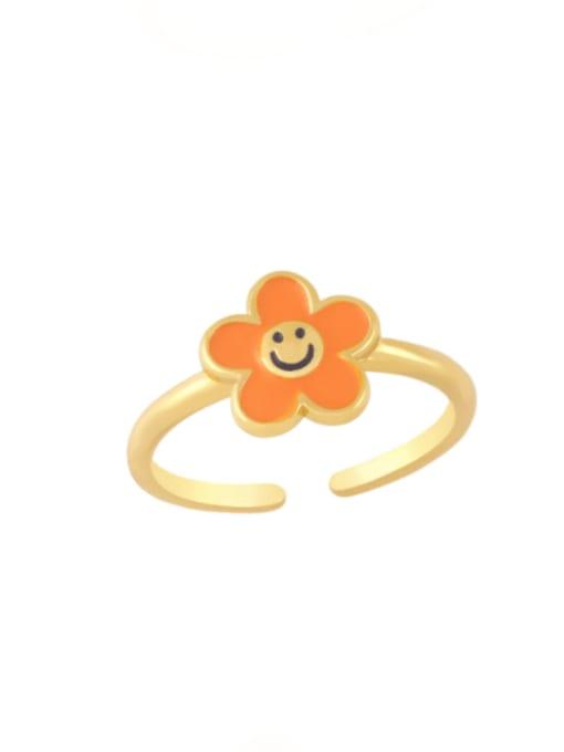 orange Brass Enamel Smiley Minimalist Band Ring