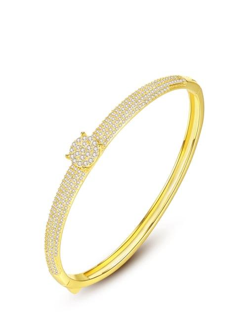 BLING SU Brass Cubic Zirconia Round Luxury Band Bangle