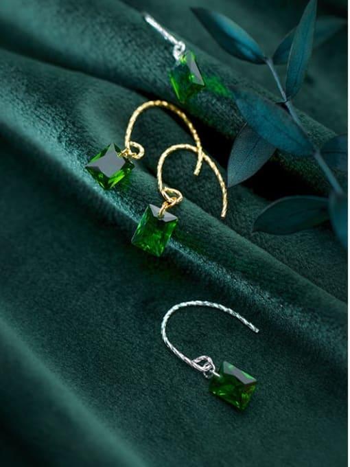 Rosh 925 Sterling Silver Glass Stone Geometric Minimalist Hook Earring 2