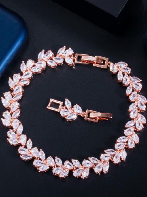 rose gold Brass Cubic Zirconia Leaf Luxury Bracelet