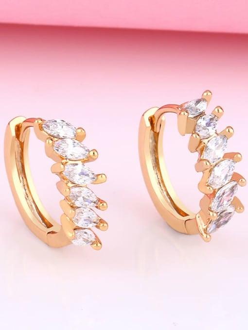 CC Brass Cubic Zirconia Geometric Bohemia Stud Earring 2