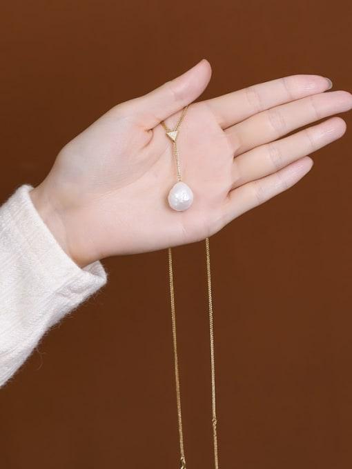 DEER 925 Sterling Silver Freshwater Pearl Irregular Vintage Lariat Necklace 3