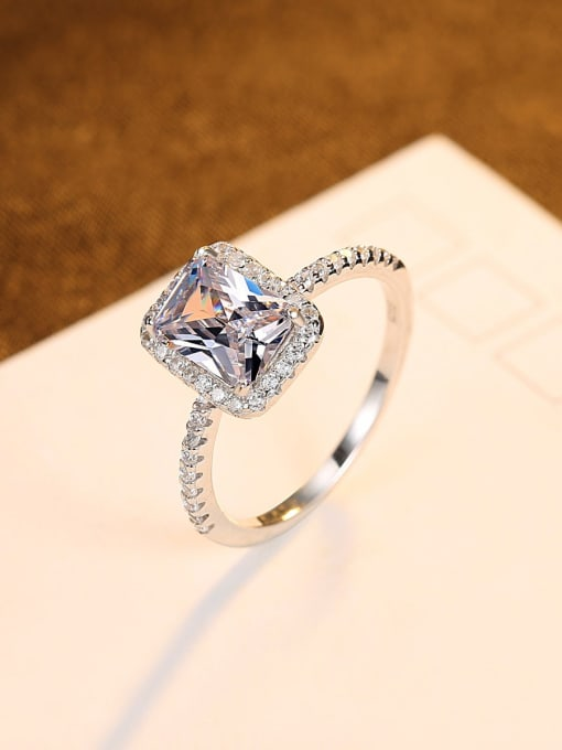CCUI 925 Sterling Silver Cubic Zirconia Geometric Minimalist Band Ring 2