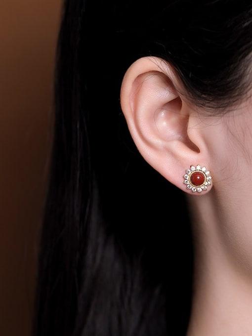 DEER 925 Sterling Silver Jade Flower Cute Stud Earring 1