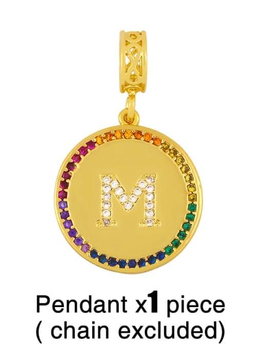 M (excluding chain) Copper Cubic Zirconia Rround Letter Minimalist Pendant