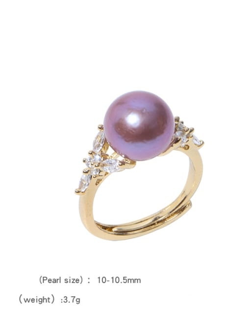 Freshwater pearl ring Brass Freshwater Pearl Flower Vintage Band Ring