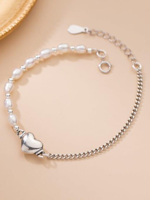 Rosh 925 Sterling Silver Freshwater Pearl Heart Minimalist Link Bracelet 1