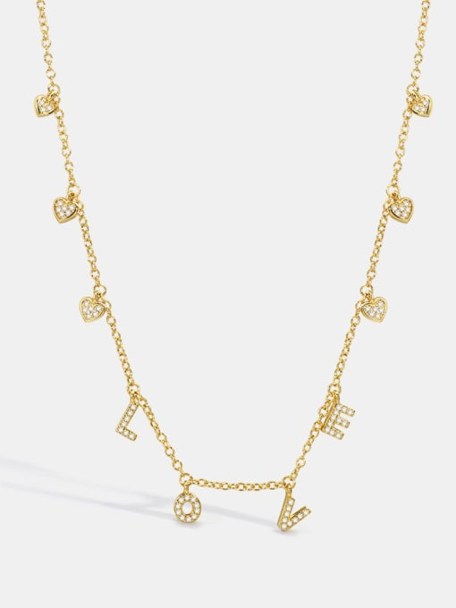 CHARME Brass Cubic Zirconia Letter Minimalist Necklace