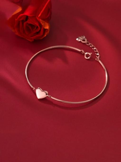 Rosh 925 Sterling Silver Smooth Heart Minimalist Bracelet