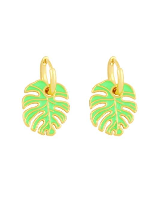 green Brass Enamel Tree  Leaf  Vintage Huggie Earring