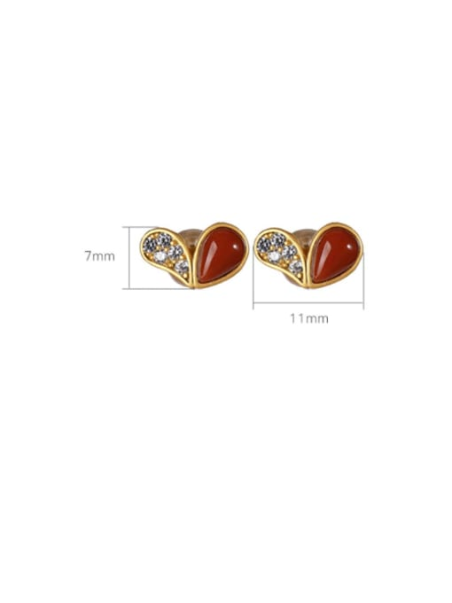 DEER 925 Sterling Silver Carnelian Heart Cute Stud Earring 2